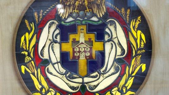 York City seal in stained glass, on display October 2015 in window of Rudy Art Glass Studio, 15 East Philadelphia Street, York