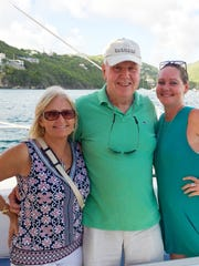 Brenda and Robin Lloyd with Mandy Lemley in St. John