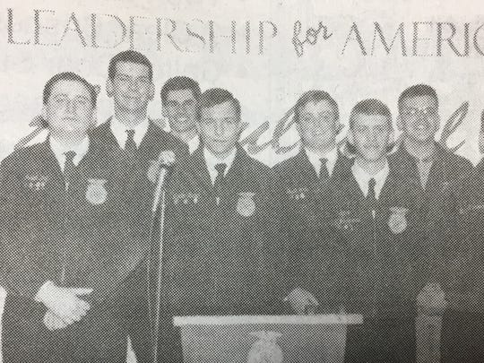 The annual FFA banquet was held in April 1997. Award winners pictured were Michael Denney, Jerrad Day, Curt Divine, Clay Wells, Landon Brown, Dustin White, Matt Thomas, Kurt Clements, Brian Hendrickson, and Lesley Bryant.