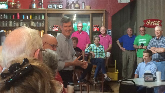 Iowa Democratic Gubernatorial Candidate Fred Hubbell spoke at the Cornery Sundry in Indianola Tuesday, May 22, 2018.