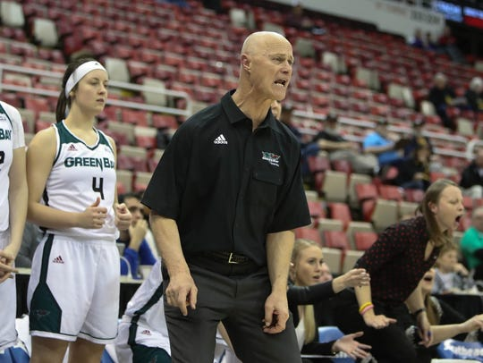 UWGB coach Kevin Borseth on the bench during action