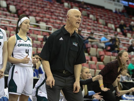 UWGB coach Kevin Borseth on the bench during action against the Milwaukee Panthers during the Little Caesars Horizon League tournament Monday, March 6, 2017 at Joe Louis Arena in Detroit Michigan.