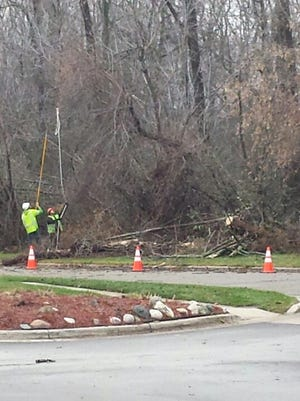 Crews work on a tree that fell on a power line in East Lansing.