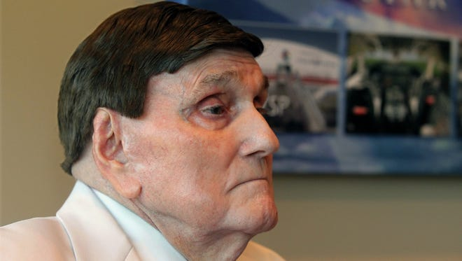 Rev. Ernest Angley listens during a interview in his office on Sept. 3 in Cuyahoga Falls, Ohio.