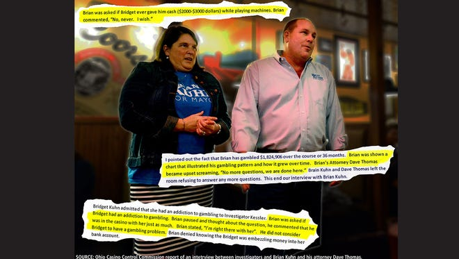 Bridget M. Kuhn, left, stands next to her husband Brian Kuhn Nov. 3, on election night at Cherry Street Pub in Lancaster to celebrate Brian Kuhn's mayoral campaign victory. Two weeks later Brian Kuhn spoke with investigators about his wife's gambling when investigators tried to ask him about his gambling habits Kuhn's attorney stopped the interview.