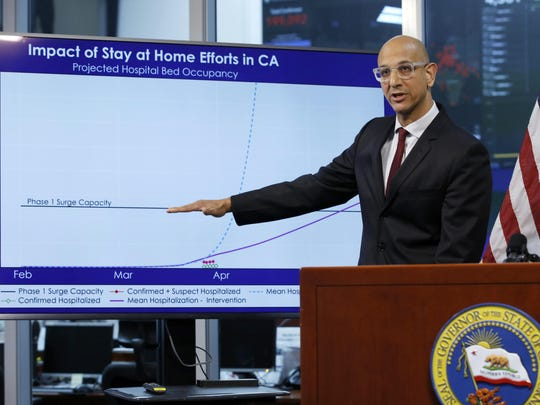 Dr. Mark Ghaly, secretary of the California Health and Human Services Department, gestures to a chart showing the impact of the mandatory stay-at-home orders, during an April news conference in Rancho Cordova, Calif.