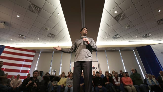 Marco Rubio speaks to guests and supporters during a campaign stop at Bev's On The River Restaurant on Jan. 30, 2016, in Sioux City, Iowa.