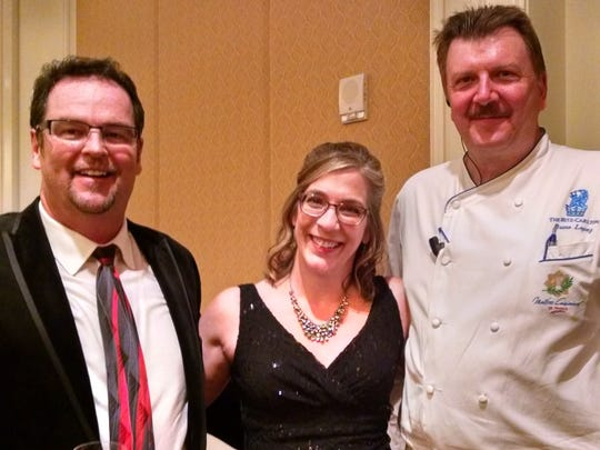 Three key figures in the Pendleton Chef Auction this year were (left to right) auctioneer Kevin O'Callaghan, Karen Pendleton and Chef Bruno Lopez.