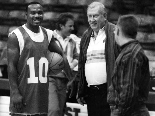 Former UTEP and NBA all-star Tim Hardaway enjoyed a workout with the Miners. Even Coach Don Haskins was smiling.
