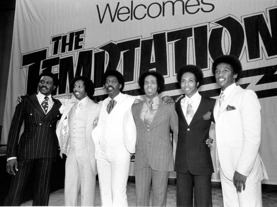 The Temptations appear at a party at Studio 54 in New York City in 1977.