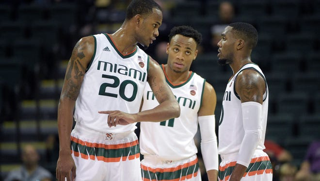 Miami forward Dewan Huell (20) scored in double figures to lead the Hurricanes past Rutgers on Wednesday, Nov. 30, 2016, at Coral Gables, Fla.