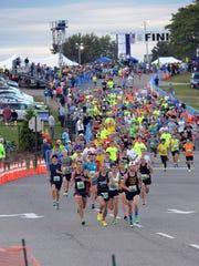 The start of the 2015 Brooksie Way half marathon shows