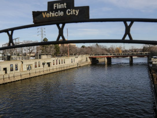 A view of the Flint River running through downtown