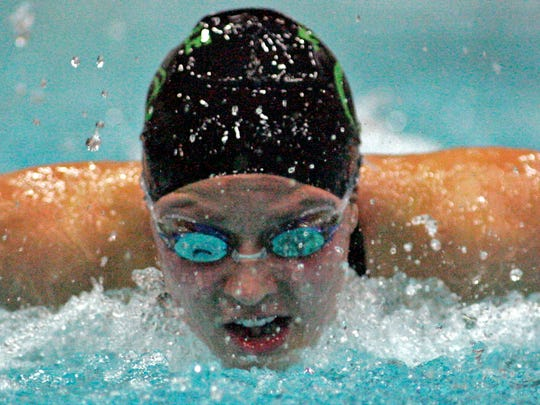Greendale senior Jenna Lennertz competes in the butterfly at the state swim meet Nov. 9, 2007.