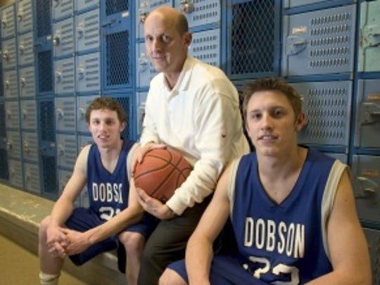 Mesa Dobson boys basketball coach Rick McConnell with his sons Mickey (right) and Matt (left) in 2004.