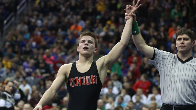 Union of LaPorte City's Max Thomsen, pictured after winning his third state title in February, committed Monday to Northern Iowa.