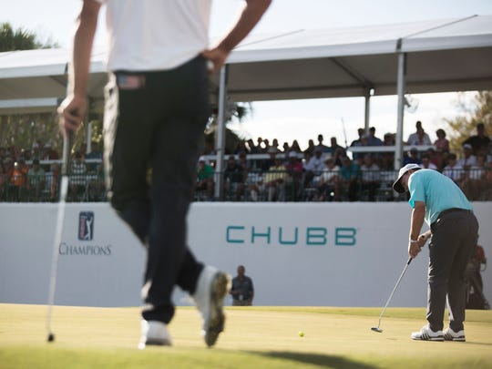 Joe Durant attempts his final put on the eighteenth hole during the final day of the Chubb Classic in Naples on Sunday, Feb. 18, 2018.