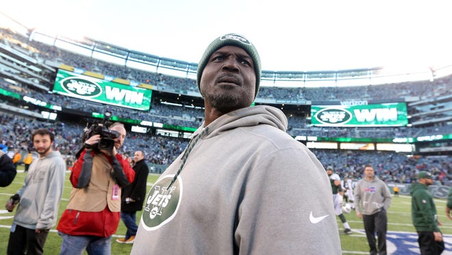 New York Jets head coach Todd Bowles leaves the field following a game against the Buffalo Bills at MetLife Stadium.