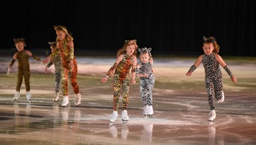 """Skaters take the ice to perform """"Lion King"""" Friday, March 24, during a rehearsal for theSt. Cloud Figure Skating Club's performance """"Blades on Broadway"""" at the MAC in St. Cloud."""