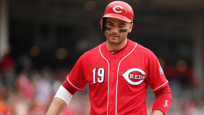 Cincinnati Reds first baseman Joey Votto (19) steps out of the batter's box after taking a strike he didn't agree with in the fifth inning during the National League baseball game between the Arizona Diamondbacks and the Cincinnati Reds on July 20, 2017, at Great American Ball Park.