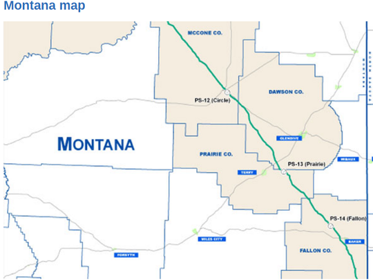 The proposed Keystone Pipeline map through Montana.