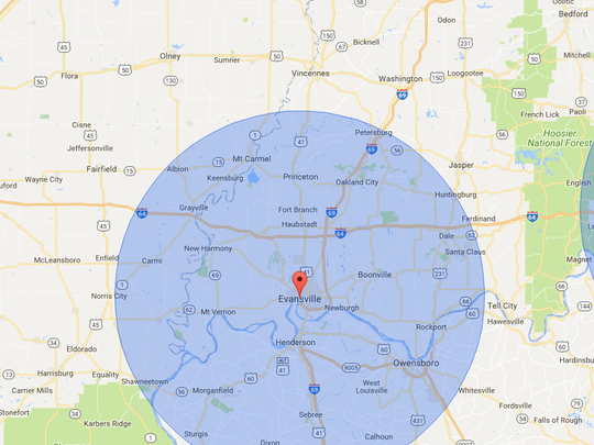 Places outside the blue circles would be ideal spots