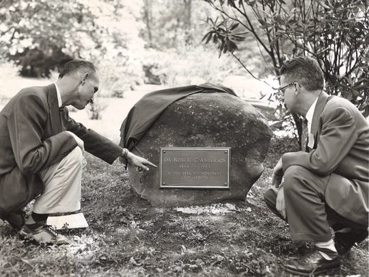 A memorial marker for Montreat College founder Robert C. Anderson is seen in this photo from 1956.
