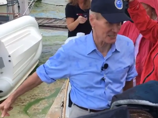 Sen. Bill Nelson visited Martin County in June 2016, to see the blue-green algae invading Treasure Coast waterways. Gov. Rick Scott had declared a state of emergency for Martin and St. Lucie counties. (TREASURE COAST NEWSPAPERS)