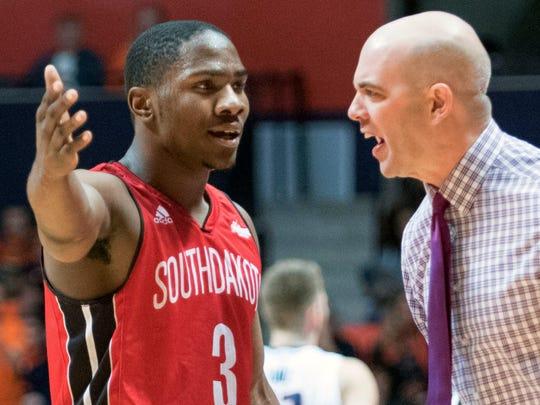 South Dakota's head coach Craig Smith has a fews words