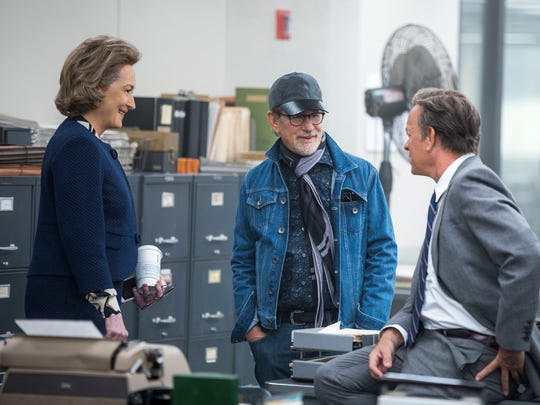 Meryl Streep (from left), director Steven Spielberg