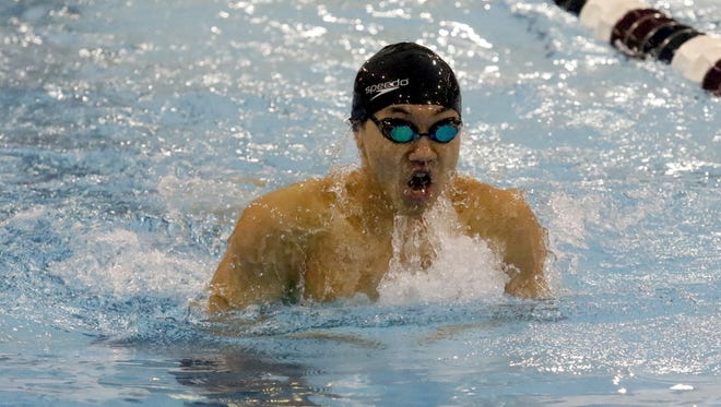 Shoonhsin Li of Horseheads swims to a runner-up finish in the 100-yard breaststroke Jan. 14 at the John Beecher Boys Swimming and Diving Invitational at Ernie Davis Academy.