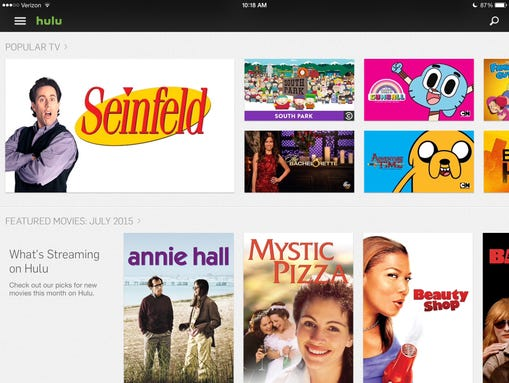 The streaming service Hulu shown on a tablet.