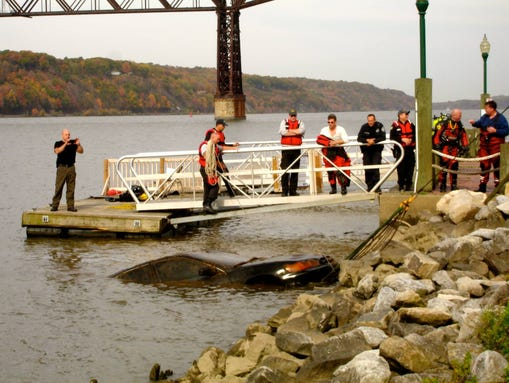 A car that's likely been under water in the Hudson