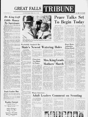 Front page of the Great Falls Tribune on Monday, May 13, 1968.