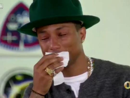 """Pharrell Williams got a little dust in his eyes on """"Oprah Prime."""""""