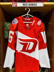 Red Wings jersey for Stadium Classic game Feb. 27 in Denver.