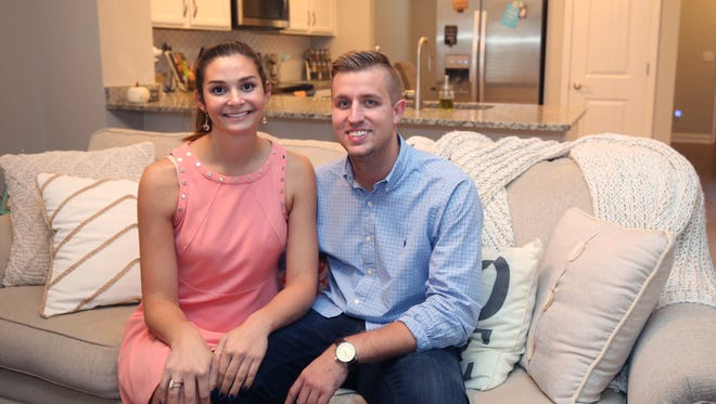Alina Agamy and Justin McCormick inside their home in Walden Village Monday October 2, 2017.