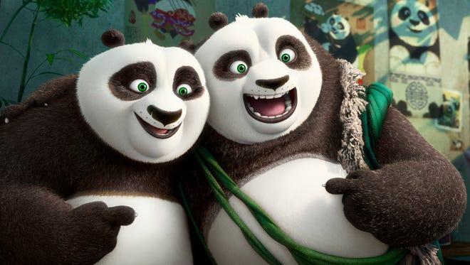 Po (voiced by Jack Black) meets his long-lost panda father Li (Bryan Cranston) in 'Kung Fu Panda 3.'