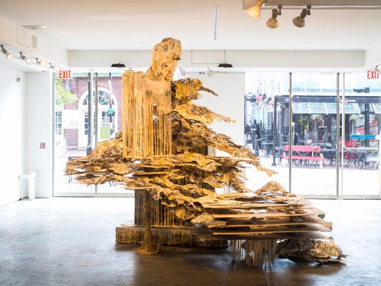 """Phantom Limb"" in the exhibit ""Immaterial"" by Diana Al-Hadid at Burlington City Arts in Burlington on Tuesday, August 8, 2017."