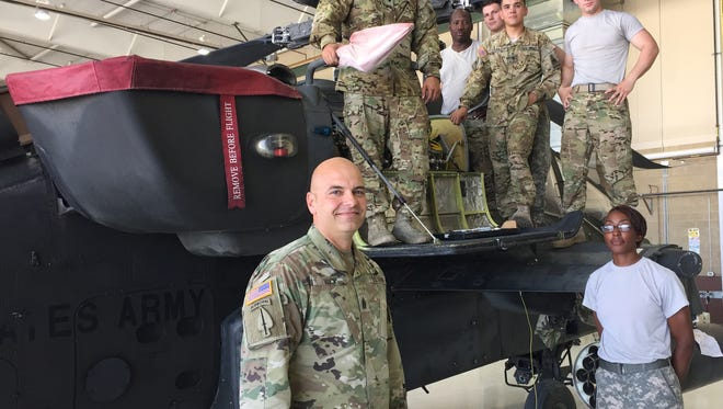Command Sgt. Maj. Dave Wick, foreground, is the new senior enlisted leader for 3rd Squadron, 6th Cavalry Regiment. Here, he is with some of the maintainers from the squadron's Delta Troop.