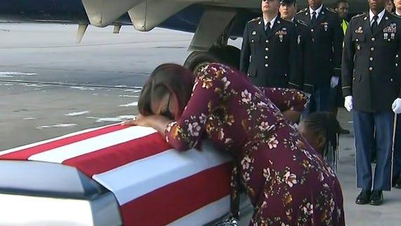 Myeshia Johnson, widow of Sgt. La David Johnson, killed in an ambush in Niger, when her husband's coffin arrives in Miami.
