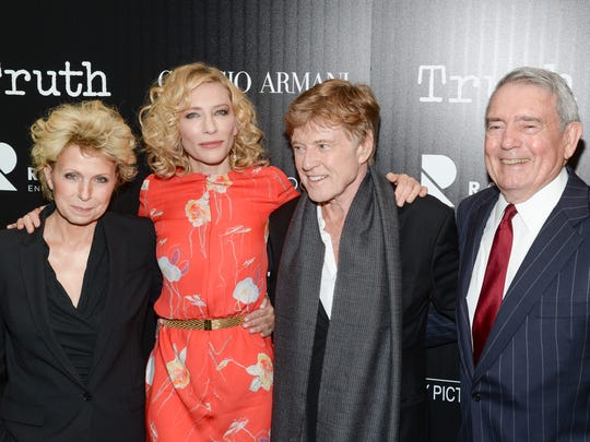 "Author Mary Mapes (from left), actress Cate Blanchett, actor Robert Redford and television journalist Dan Rather attend a special screening of ""Truth"" at The Museum of Modern Art on Oct. 7 in New York."