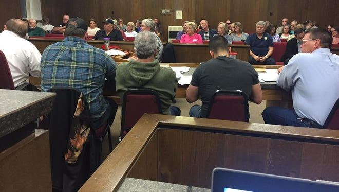 More than three dozen people look on Tuesday as the Marion County Quorum Court discusses the county's budget.