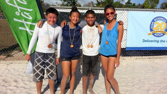 Over 100 athletes participated in the Guam Volleyball Federation's Junior Cup and Kids Cup held at the Guam Football Association's sand courts on Apr. 9 and 10. Pictured are the Kids Cup champions from team Holy Set. From left to right are: Devin Camacho, Ivory Howat, Kaleb Tennessen and Monica Giger. Missing from the photo are Aiden Bordallo and Isabella Bass.