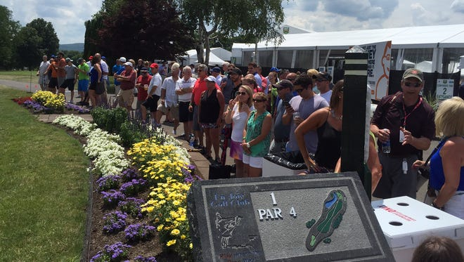 Golf fans line up for the John Daly start at the Dick's Sporting Goods Open at En-Joie Golf Course in Endicott, Friday, July 8, 2016