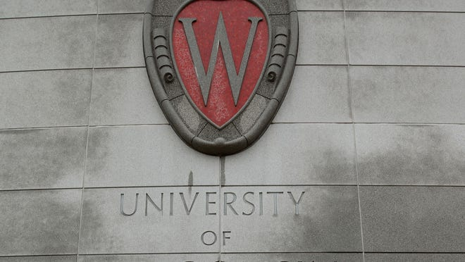 A University of Wisconsin logo in Madison, Wisconsin.