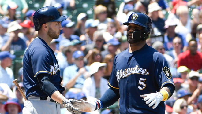 Jonathan Villar has had a subpar season and Ryan Braun has missed 51 games, but depth throughout the lineup has kept the Brewers in first place in the National League Central division.