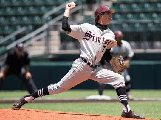 Sinton's Brett Brown throws a pitch during the sixth inning of the Class 4A State Semifinal against Robinson at Disch-Falk Field in Austin on Wednesday, June 7, 2017.