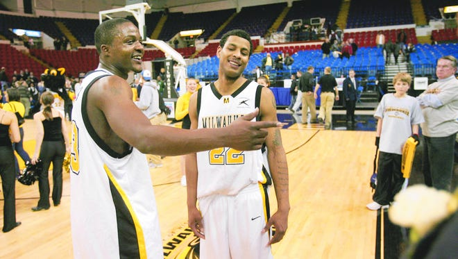 """Former UW-Milwaukee standouts Joah Tucker (left) and Ed McCants are part of the """"Banner Boys"""" in the $2 million Basketball Tournament."""