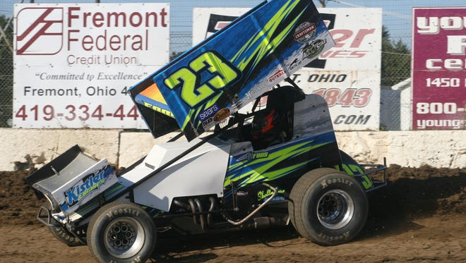 Dj Foos claims the 410 Division feature Saturday at Fremont Speedway.